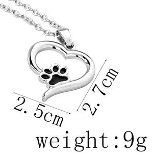 Hollow Heart Dog Print Necklace