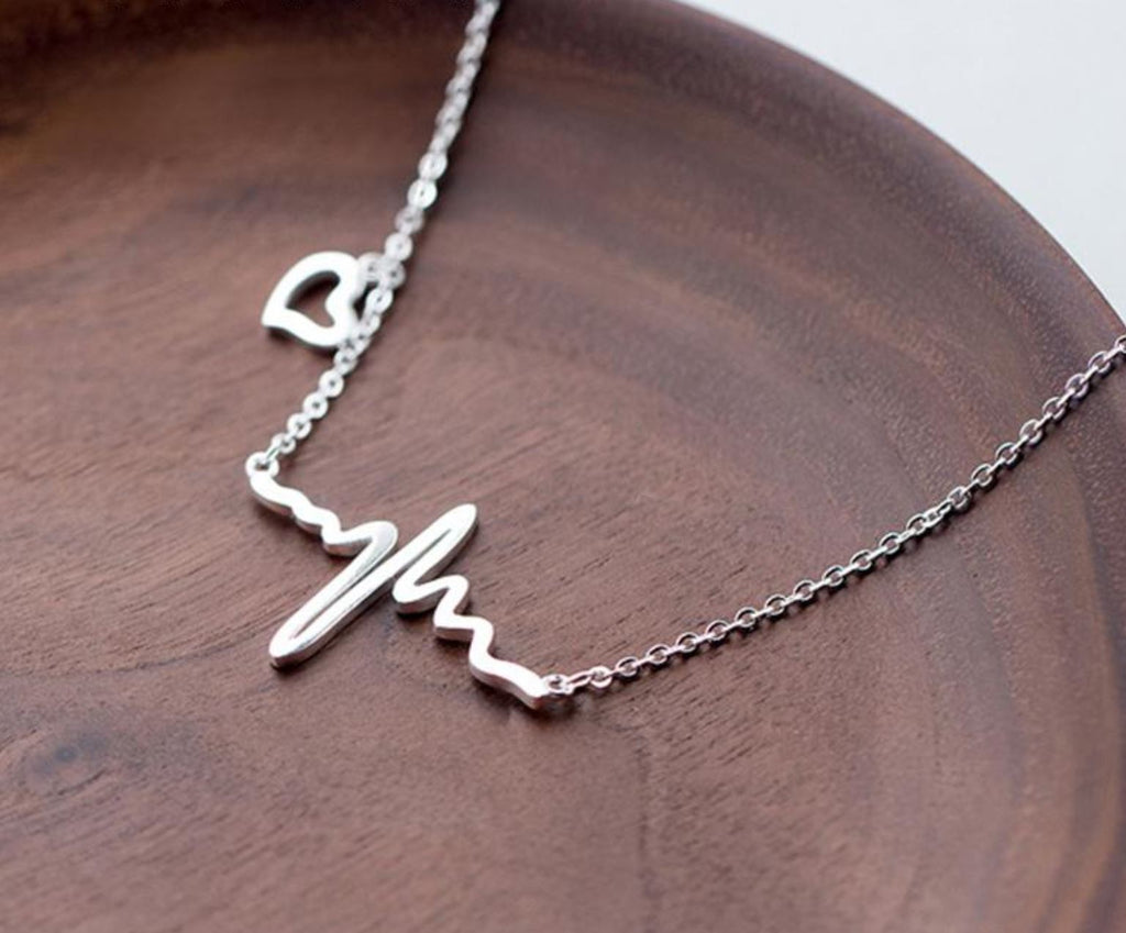 Ladies Heartbeat Necklace 100% Pure Sterling Silver