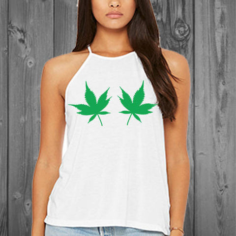 Cannabis Womens Flowy High Neck Tank