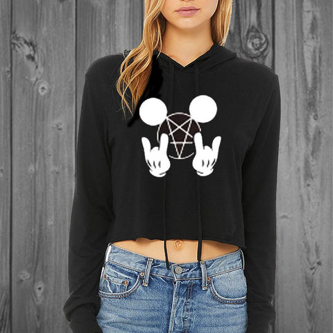 Metal Mouse Womens Cropped Hoodie