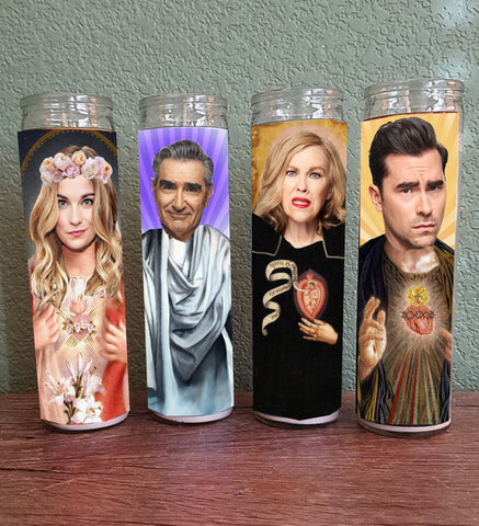 Schitt's Creek Saint Candle Set of 4 -Moira Rose, Johnny Rose, David Rose & Alexis Rose