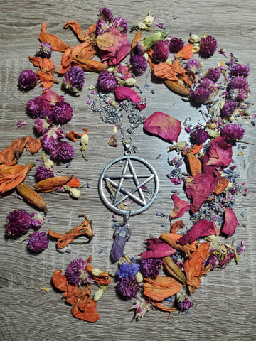 Pentacle with Amethyst Stone Necklace