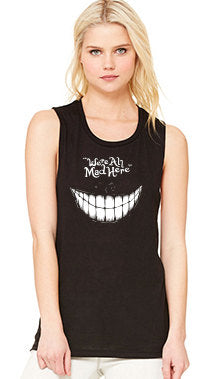 We're All Mad Here Alice in Wonderland Womens Flowy Muscle Tee