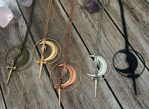 Tarot Sword Moon and Hand Pendant Necklace