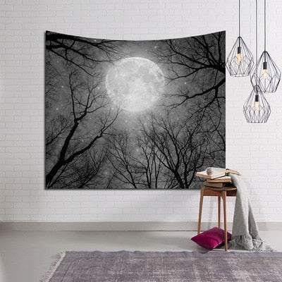 Night Sky & Moon Wall Tapestry