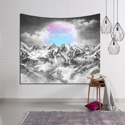 Snowy Mountain & Moon Wall Tapestry