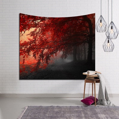 Red Autumn Leaves Tree Wall Tapestry