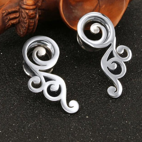 Filigree Stainless Steel Double Flare Ear Plugs