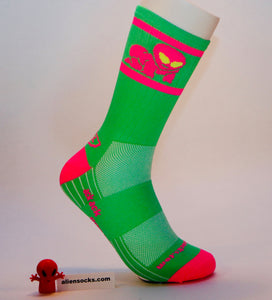 bright, weird, and funky. the original alien baby cycling sock