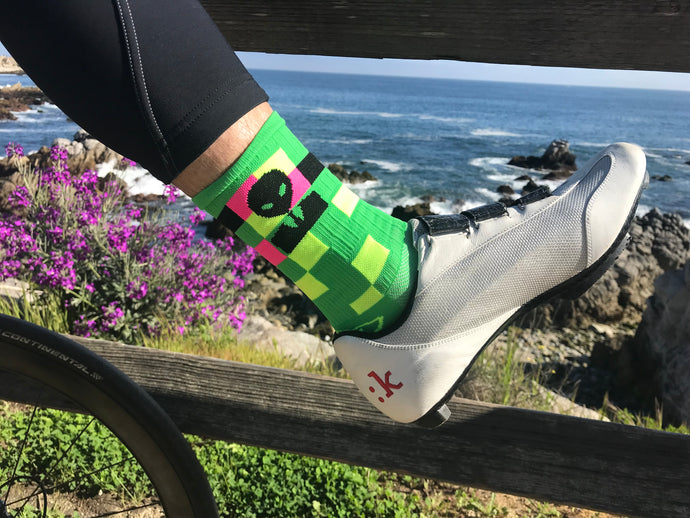 alien bizness man sock enjoying Monterey spring time cycling