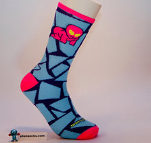 bright, funky, weird alien baby cycling sock