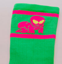 close up of the bright, weird, and funky original alien baby cycling sock