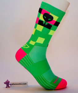 super bright alien cycling sock