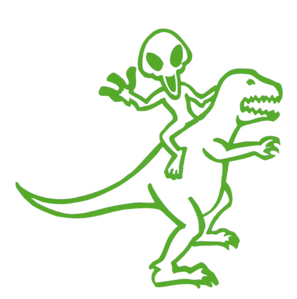 alien riding dino sticker