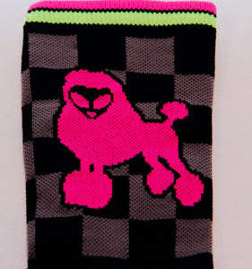 close up of the alien poodle side of the cycling sock