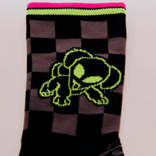 close up of the alien puppy side of the double dawg dare cycling sock