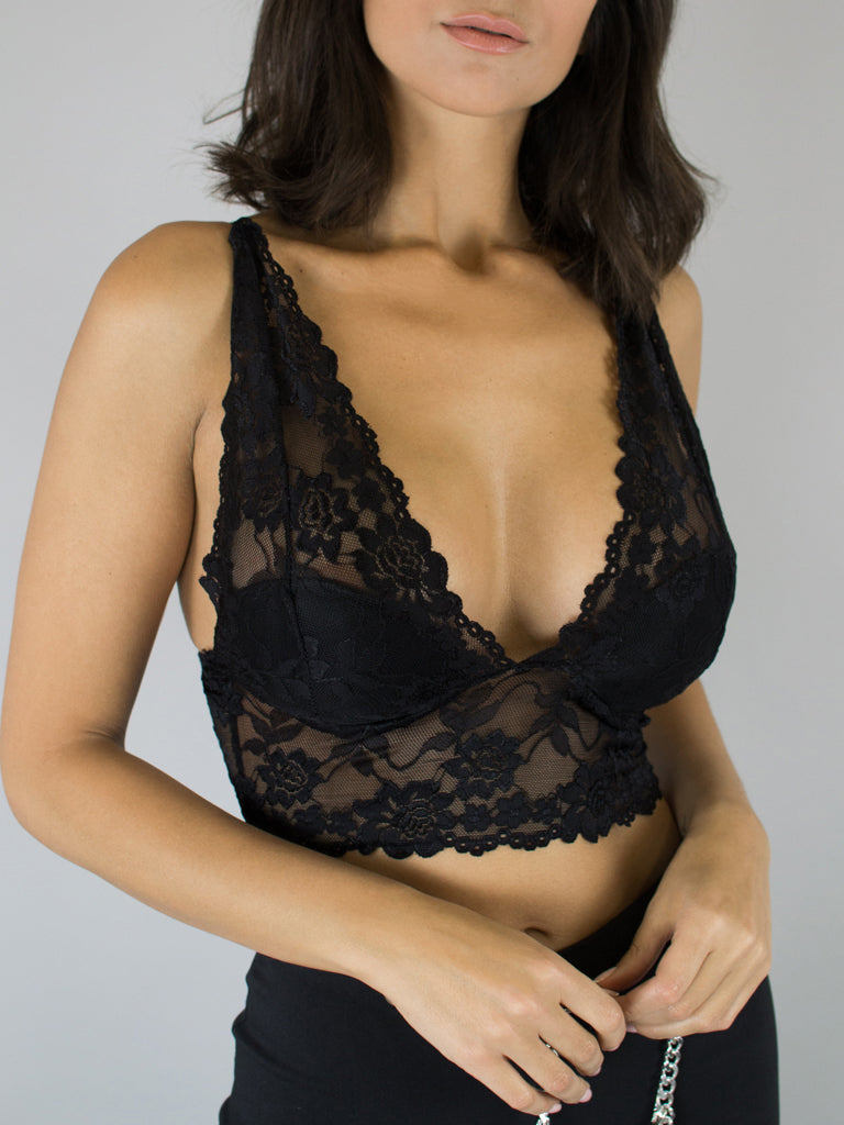 Top Lencero Semi-transparente Negro