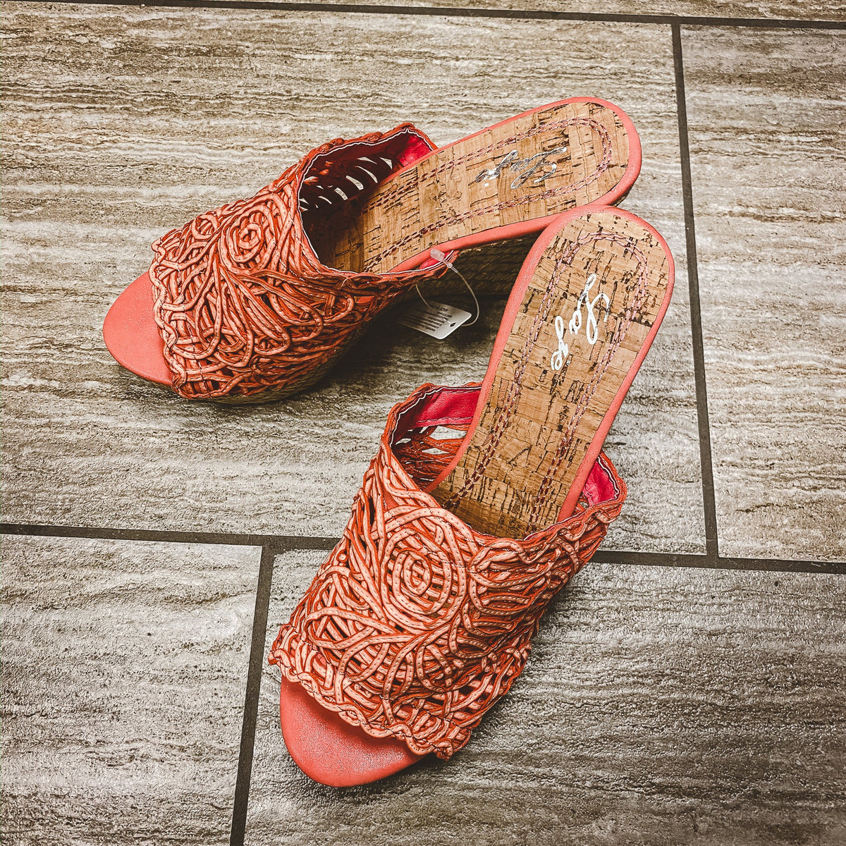 39 Coral Woven Wedge