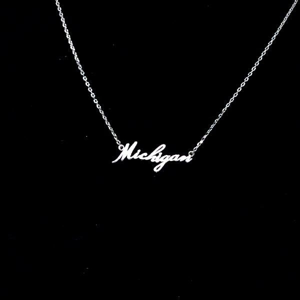 M-I-C-H-I-G-A-N Script Must Have Necklace
