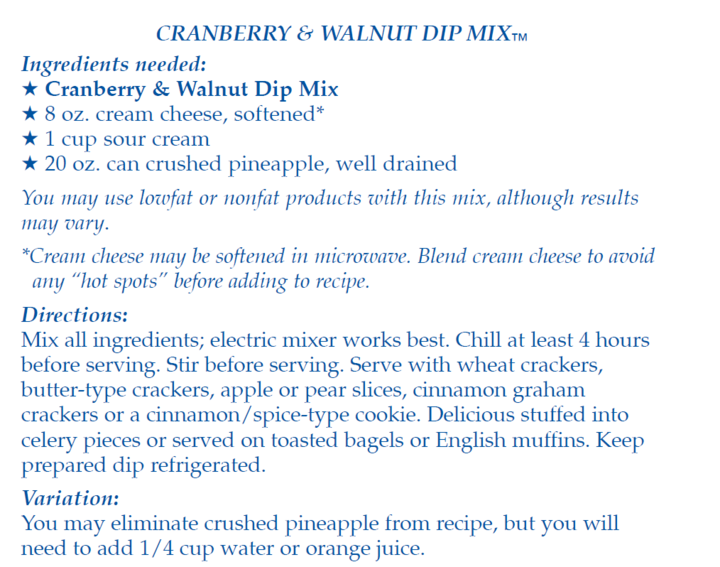 Cranberry & Walnut Dip Mix