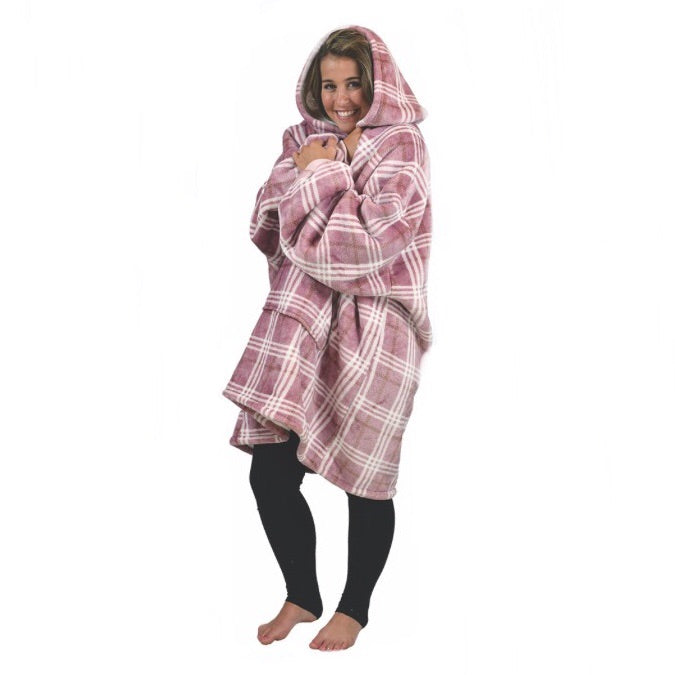 Plaid Oversized Sherpa Blanket Pullover
