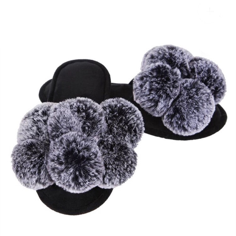 Black Luxe Pompom Open Toe Plush Slipper