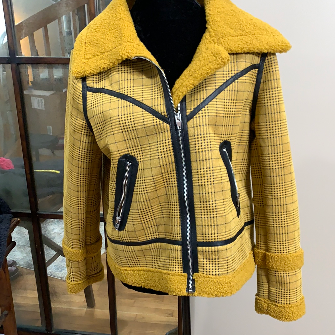 Mustard Plaid Zip up Jacket in Medium