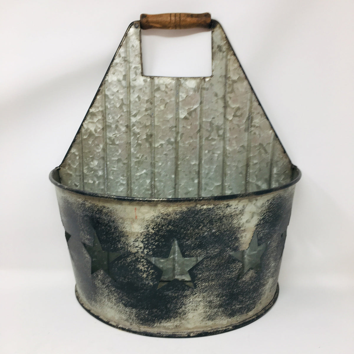 Metal Flat Back Basket w/ Stars