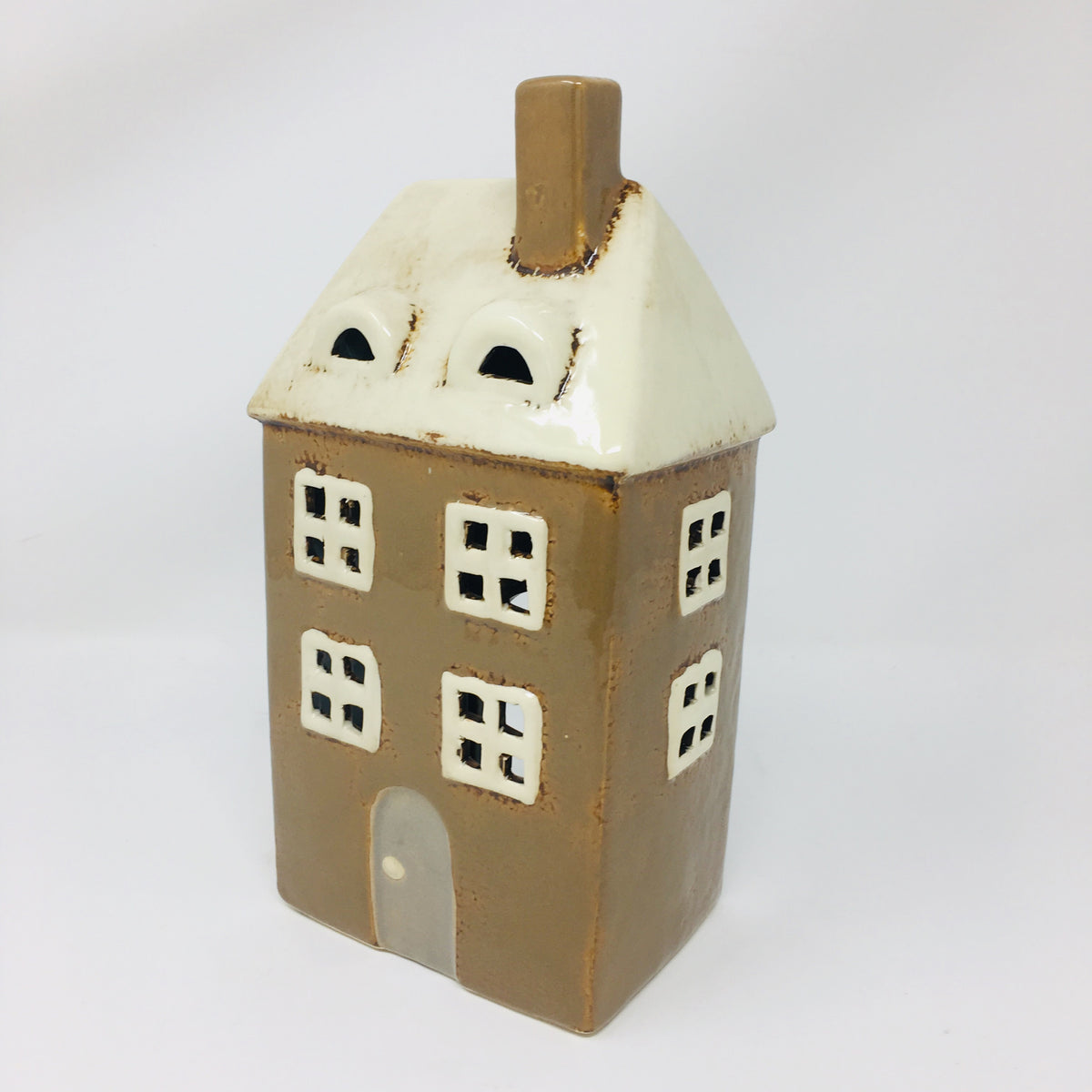 "9"" Ceramic House Candle Holder"