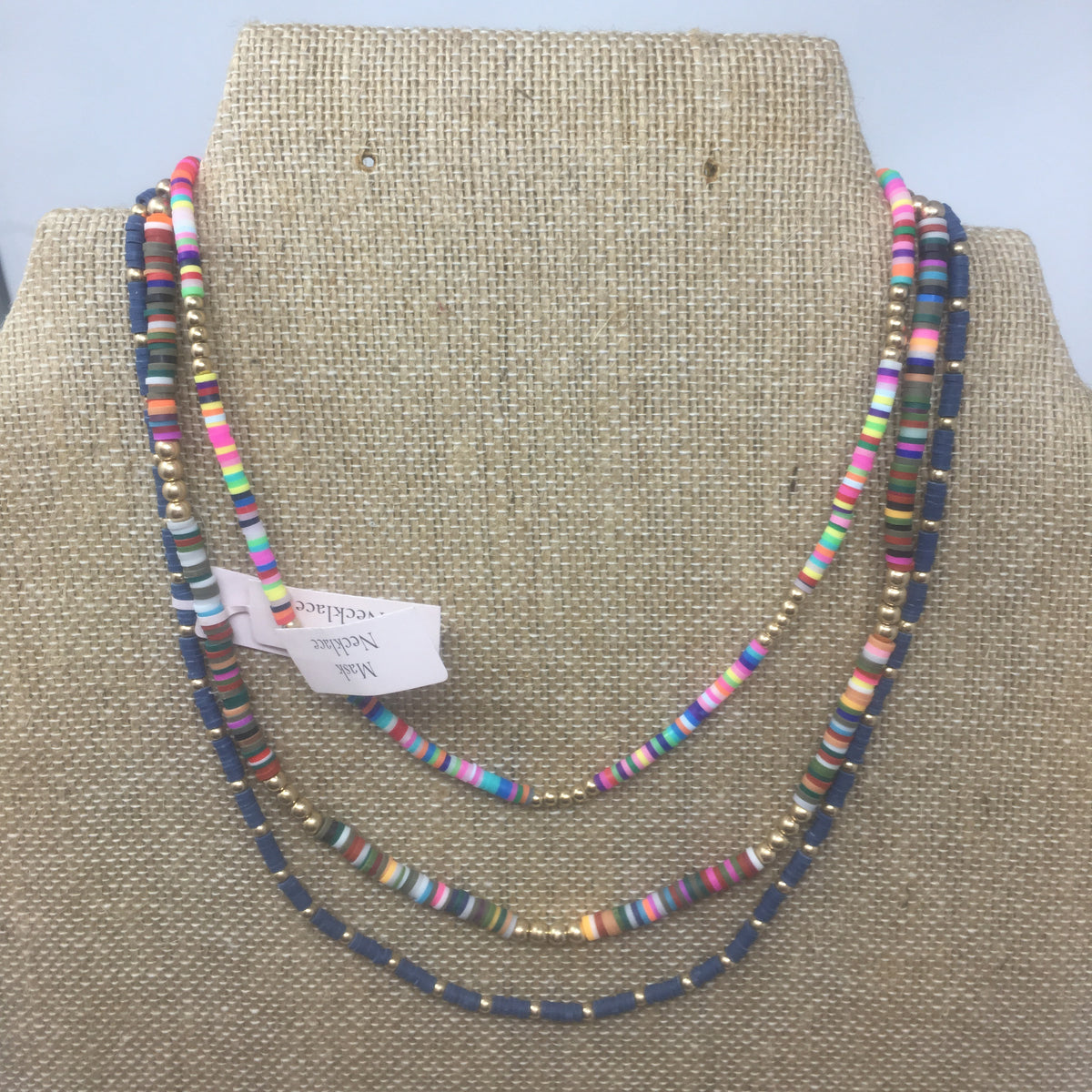"Emberly Color Block 20"" Mask Necklace"