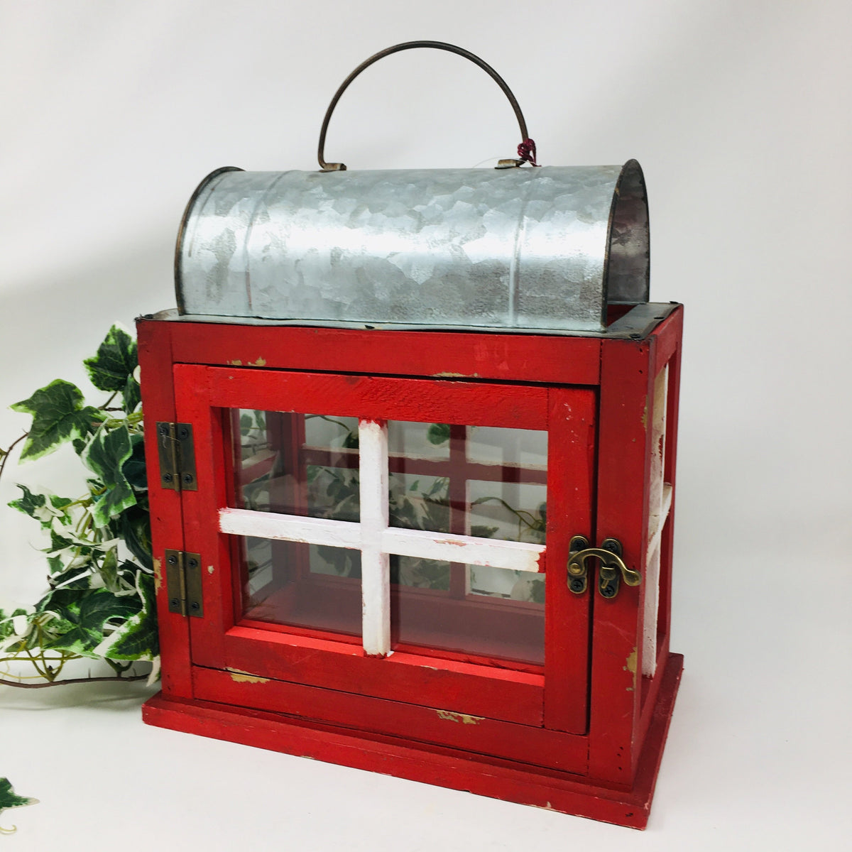 Galvanized/Wood Red Rectangular Lantern