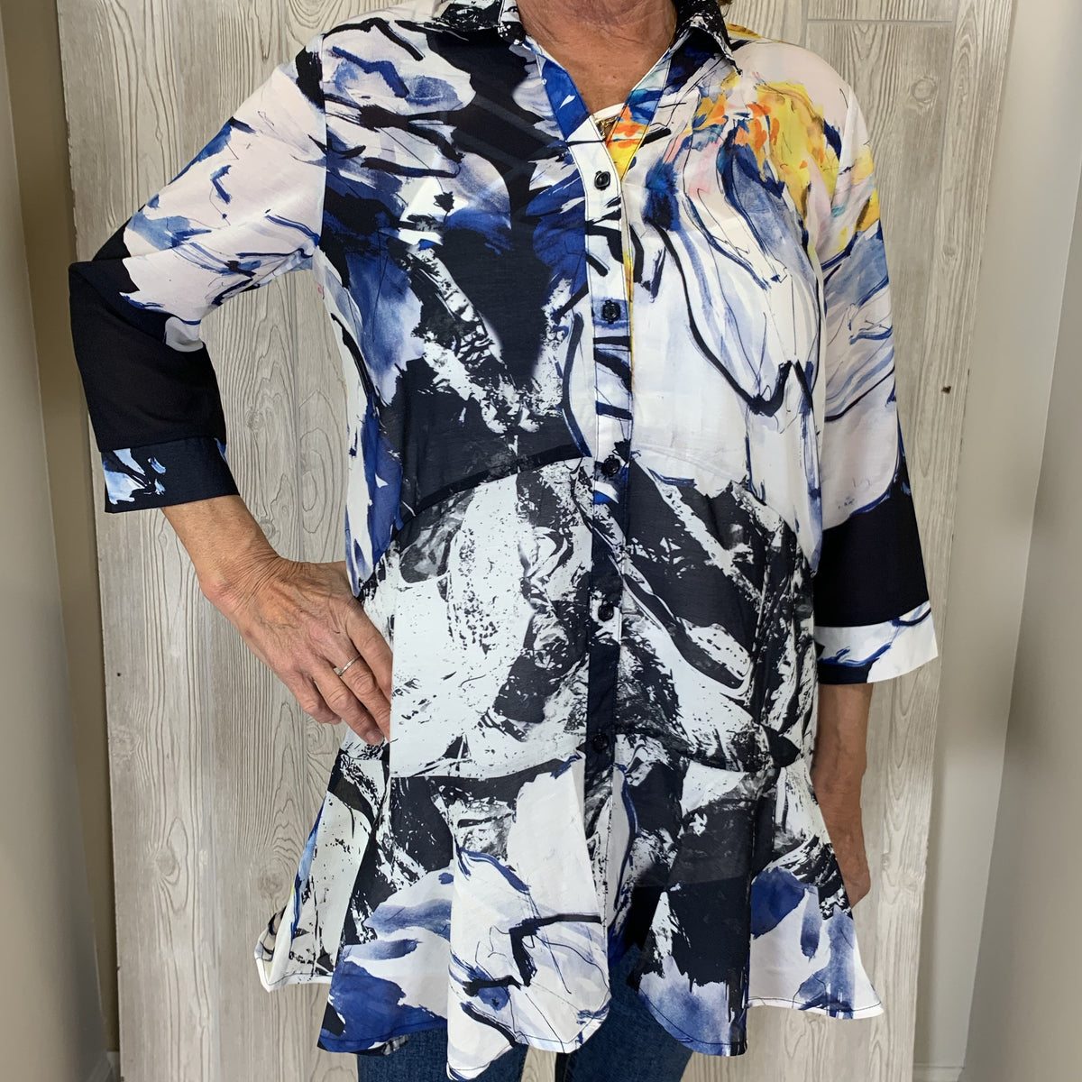 Multi color Watercolor Print Button front, Collared Top w/Ruffle Bottom