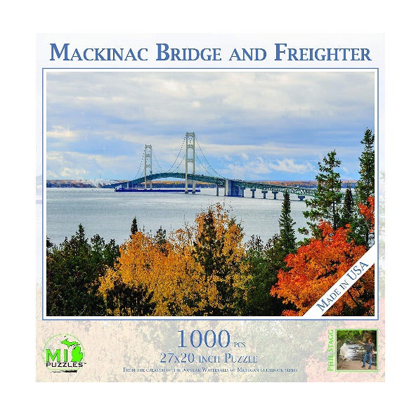 Mackinac Bridge and Freighter 1000 pc Puzzle