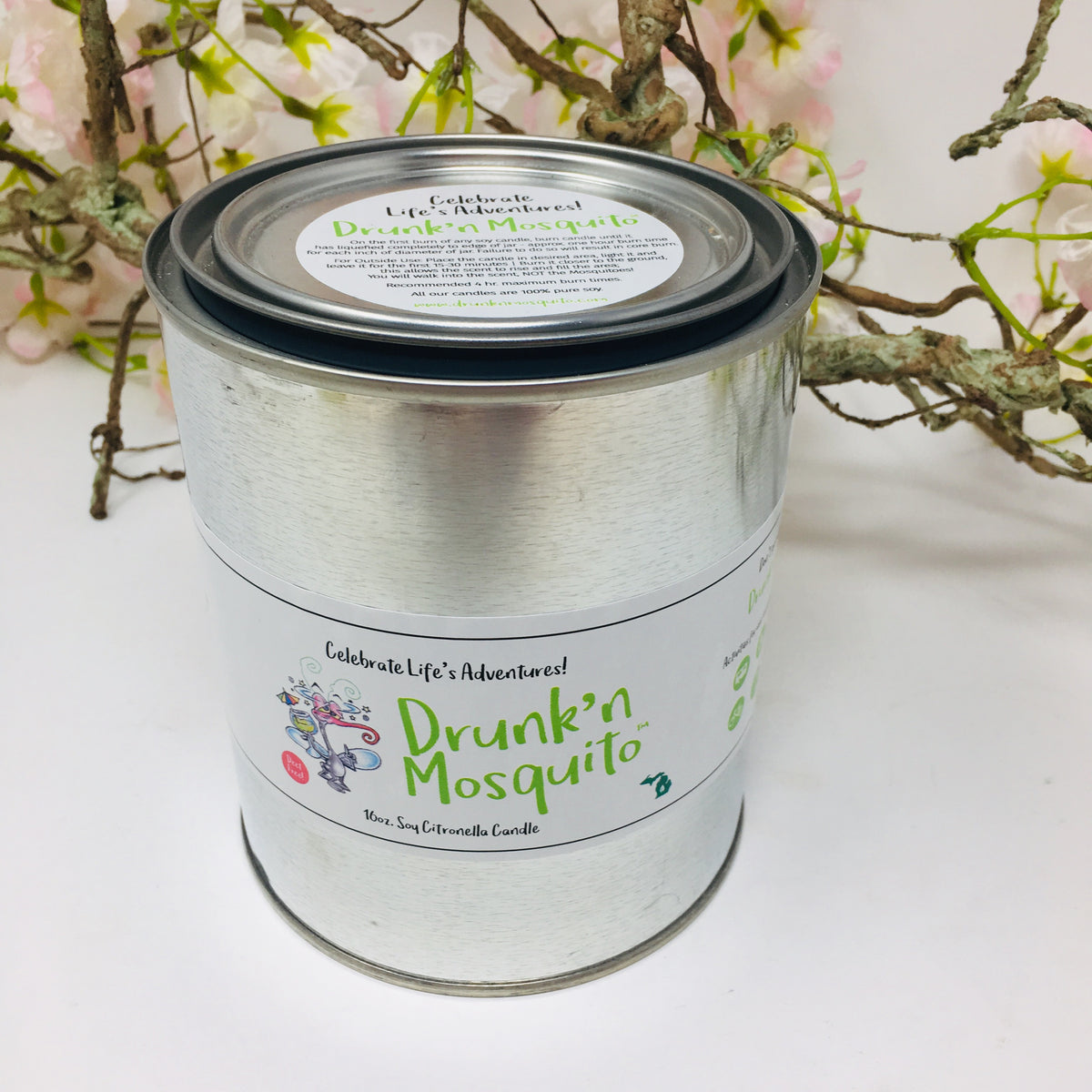 Drunk'n Mosquito 16 oz Tin Candle