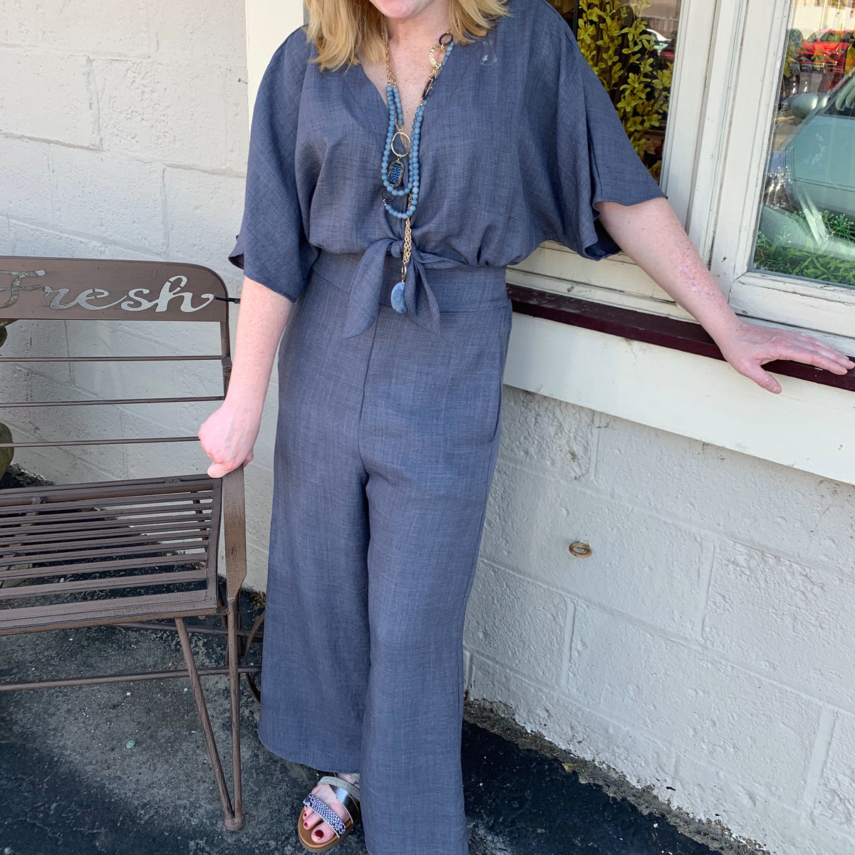 Grey Vneck Jumpsuit w/Bow In Front Elastic Waist In Back