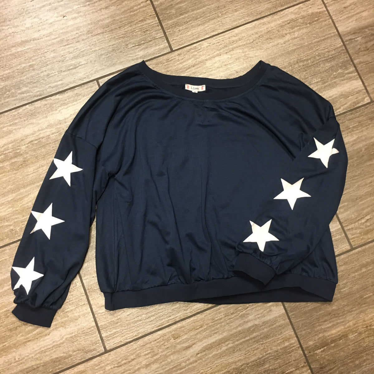 Blue Relax Fit LS Top w/Star Print Sleeve