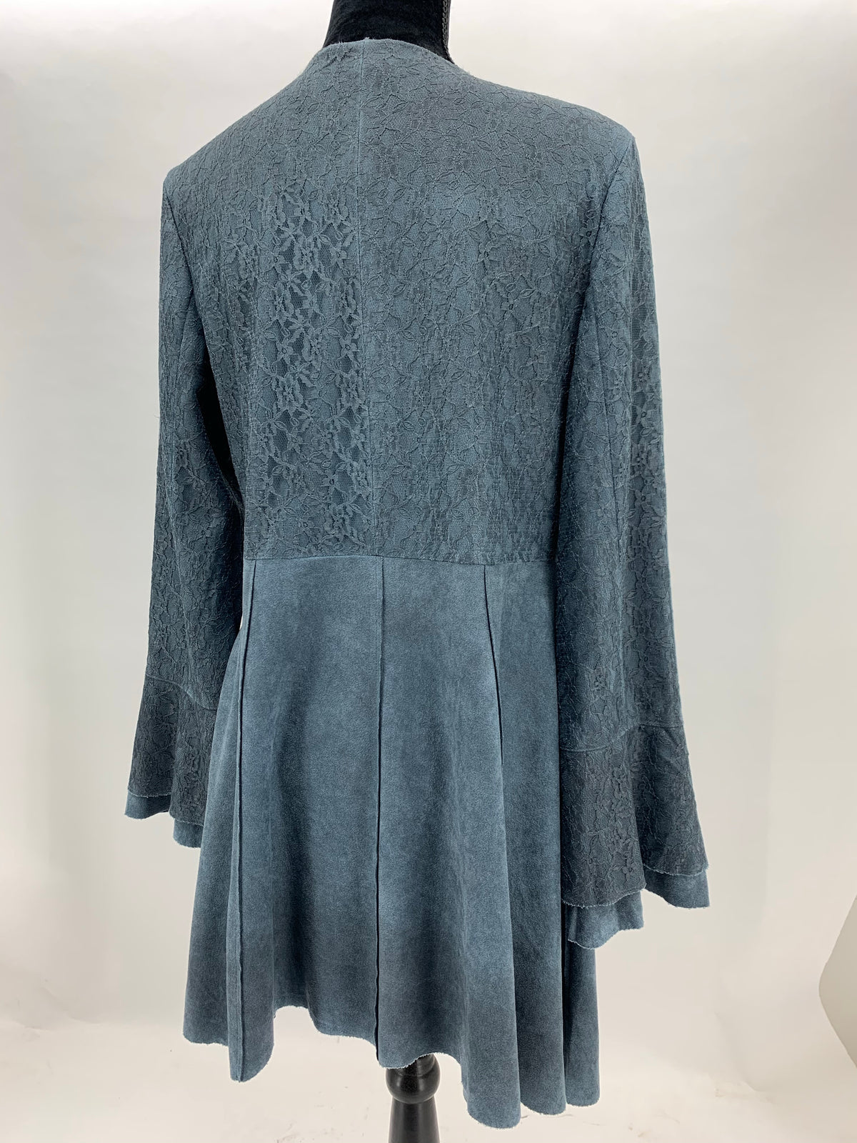 Denim Blue Brushed Suede Jacket w/ Laced Bell Sleeves
