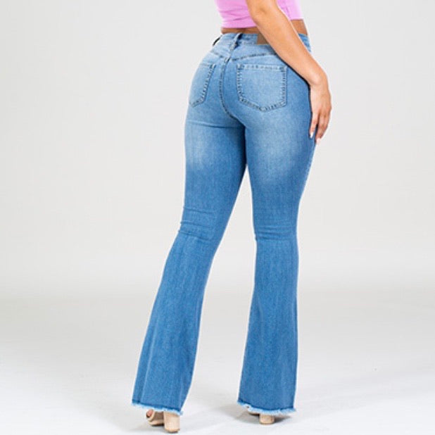 Button High Rise Super Flare Rip & Tear Jeans