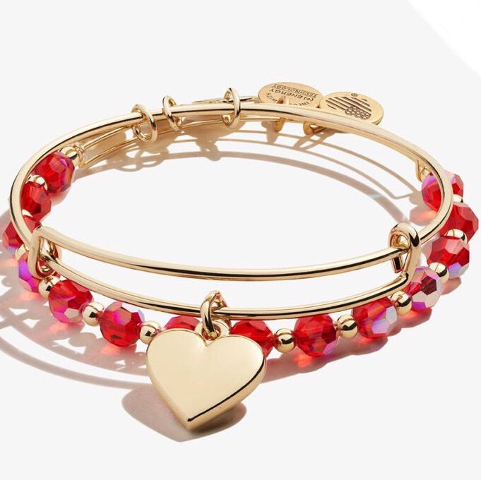 Heart Charm Bangle Set of 2