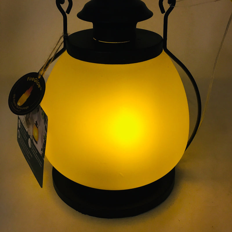 LED Glass FireGlow Lantern