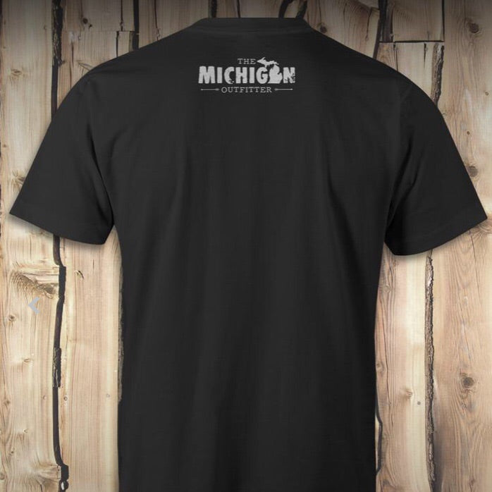 Black MI Bigfoot in Forest T-shirt