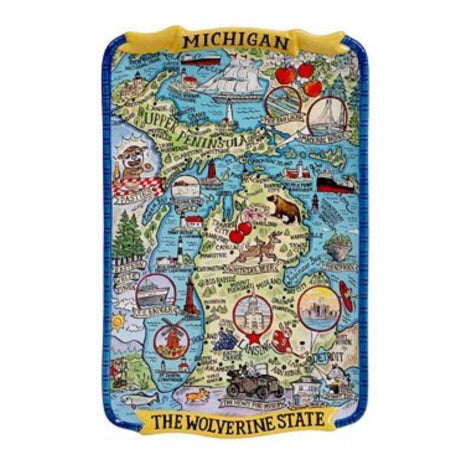 Michigan Destinations Souvenir Rectangular Platter 13x8