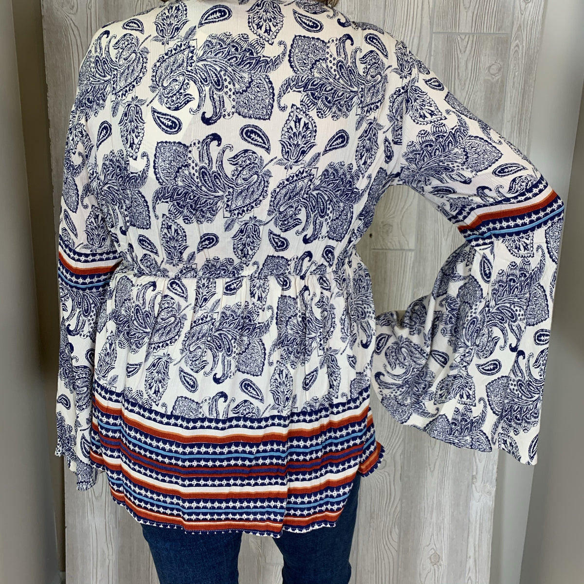 Ivory/Blue Paisley Print Lattice Front Bell Sleeve Top w/ContrastTrim & Gathered Waist