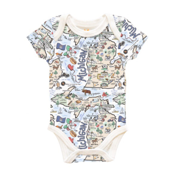 Michigan Map Baby Onesie