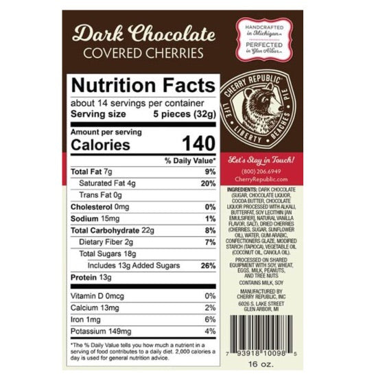 Dark Chocolate Covered Cherries 8oz