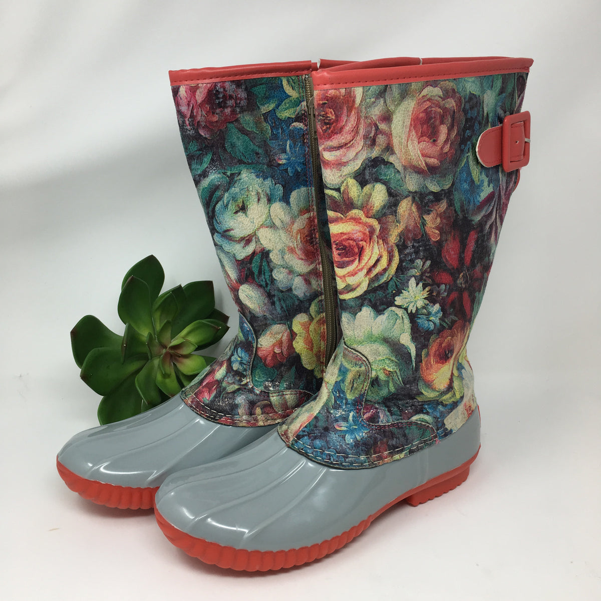 Grey Multi Floral Rainboots