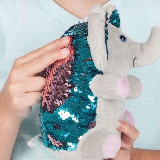 Twinkles the Elephant Weighted Sequin Plush Pet