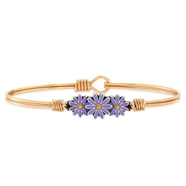 Cancer Awareness Daisy Bangle Bracelet