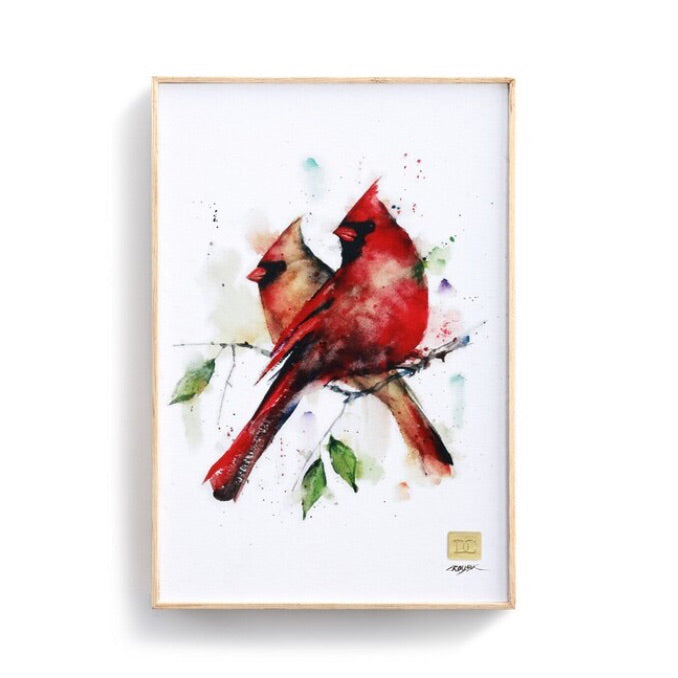 Cardinal Pair Wall Art 12x8