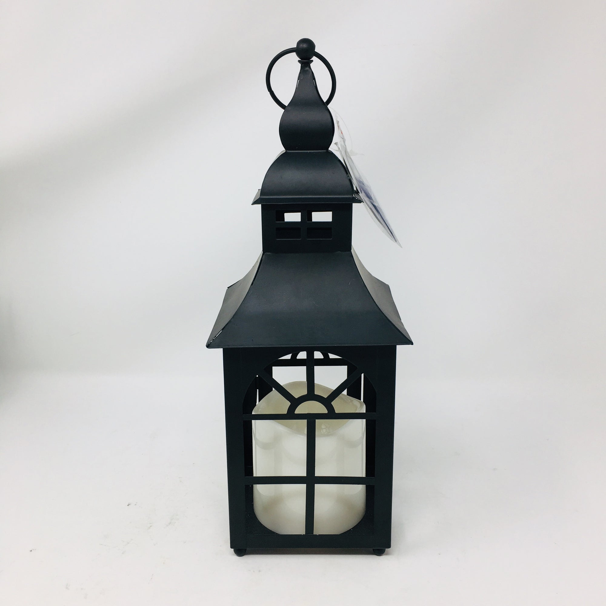 "12"" Metal Lantern w/ Pillar Candle"